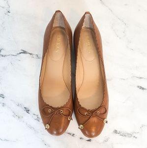 Ralph Lauren Bow Tie Leather Ballet Flats
